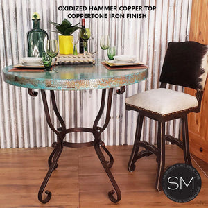 Hammer Copper Round Bar Table Model 1239 E - Mexports® Inc by Susana Molina