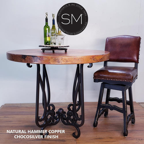 Hammer Copper Round Bar Table Model 1240 E - Mexports® Inc by Susana Molina