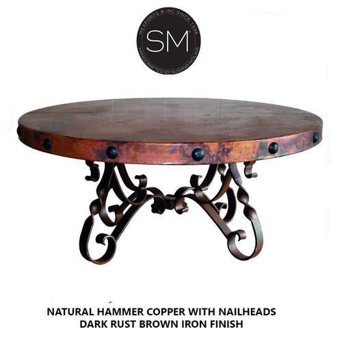 High End Coffee Table Snazzy Scroll Round Hammer Copper Top w/ Nailheads-Round Coffee tables-Mexports By Susana Molina-48