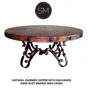 "High End Coffee Table Snazzy Scroll Round Hammer Copper Top w/ Nailheads-Round Coffee tables-Mexports By Susana Molina-48""Rd-Natural Hammer Copper-Dark Rust BRown-Mexports® Inc by Susana Molina"