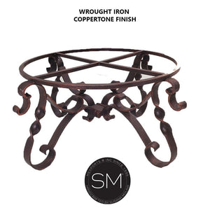 Wrought Iron Coppertone Iron FINISH - High End Coffee Table Snazzy Scroll Round Hammer Copper Top w/ Nailheads-Mexports By Susana Molina-Mexports® Inc by Susana Molina