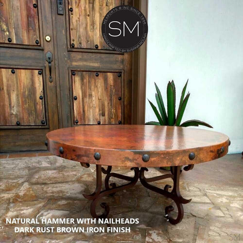 Round Coffee Table- Hammered Copper w/ Wrought Iron Base-Mexports By Susana Molina -Mexports® Inc by Susana Molina