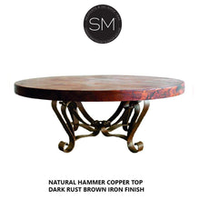Unique Round Coffee Table- Hammered Copper Top w/ Wrought Iron Base-Mexports By Susana Molina-Mexports® Inc by Susana Molina