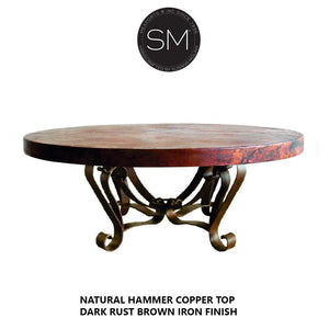 Unique Round Coffee Table- Hammered Copper Top w/ Wrought Iron Base-Round Coffee tables-Mexports By Susana Molina-Natural Hammer Copper-No Nails-Dark Rust Brown-Mexports® Inc by Susana Molina
