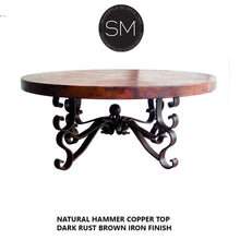 Rustic Coffee Table| Round| Hammered Copper, Wrought Iron Base-Mexports By Susana Molina-Mexports® Inc by Susana Molina