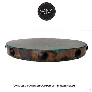 Rustic Coffee Table | Round | Hammered Copper Tob, Wrought Iron Base-Mexports By Susana Molina -Mexports® Inc by Susana Molina