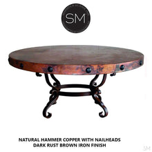 Rustic Coffee Table | Round | Hammered Copper Tob, Wrought Iron Base - Mexports® Inc by Susana Molina