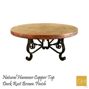 "Luxury Round Coffee Table- Hammered Copper w/ Wrought Iron Base-Hammer Copper table-Mexports By Susana Molina -48""Rd-Natural Copper-No Nails-Mexports® Inc by Susana Molina"