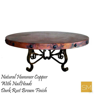 "Luxury Round Coffee Table- Hammered Copper w/ Wrought Iron Base-Hammer Copper table-Mexports By Susana Molina -38""Rd-Natural Copper-No Nails-Mexports® Inc by Susana Molina"