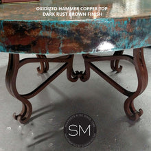 "Luxury Round Coffee Table- Hammered Copper w/ Wrought Iron Base-Hammer Copper table-Mexports By Susana Molina -48""Rd-Oxidized Copper-No Nails-Mexports® Inc by Susana Molina"