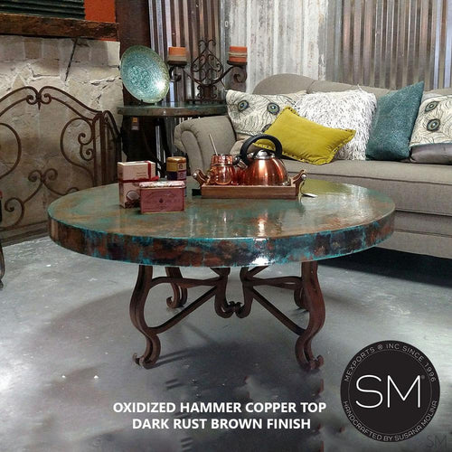 Luxury Round Coffee Table- Hammered Copper w/ Wrought Iron-Mexports By Susana Molina -Mexports® Inc by Susana Molina
