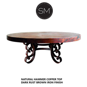 New World Coffee Tables | Hammered Copper Top, Wrought Iron Base-Mexports By Susana Molina-Mexports® Inc by Susana Molina