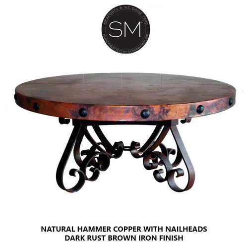 Luxury Coffee Table | Wrought iron base w/ Hammered Copper Top-Mexports By Susana Molina-Mexports® Inc by Susana Molina
