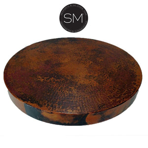 "Bestseller Hammer Copper Small Occasional Table -Iron side table-Ocasional tables, side tables & foyer tables-Mexports By Susana Molina-31""Rd-Natural Copper-Dark Rust Brown-Mexports® Inc by Susana Molina"