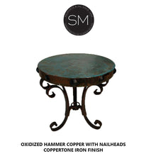 "Accent & Side table ,Hammer Copper Small Occasional Table round-Side tables, End tables & Foyer tables-Mexports By Susana Molina-31""Rd-Natural Copper-Dark Rust Brown-Mexports® Inc by Susana Molina"