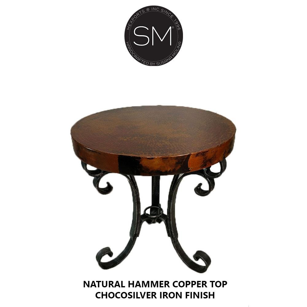 Accent & Side table, Hammer Copper Small Occasional Round Table-Mexports By Susana Molina-Mexports® Inc by Susana Molina