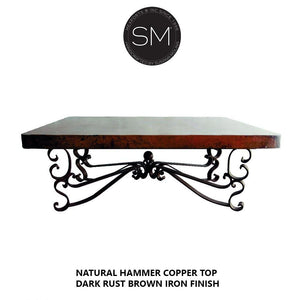 Square Coffee table with Hammer Copper top-Mexports By Susana Molina-Mexports® Inc by Susana Molina