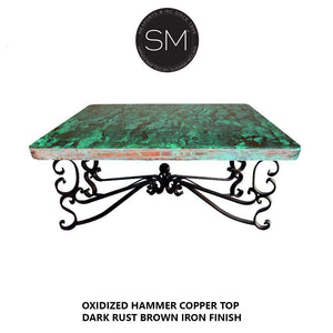 Coffe table Square with Hammer Copper  top - Family Room tables - Mexports® Inc by Susana Molina