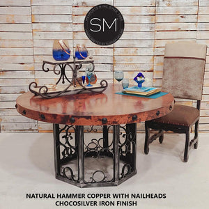 Hammer Copper Top Dining Table 1252 - Mexports® Inc by Susana Molina