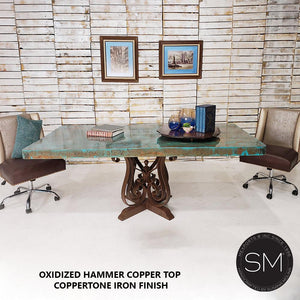 Hammer Copper Top - Luxury Modern Desk-Conference Single Table-Mexports By Susana Molina-Mexports® Inc by Susana Molina