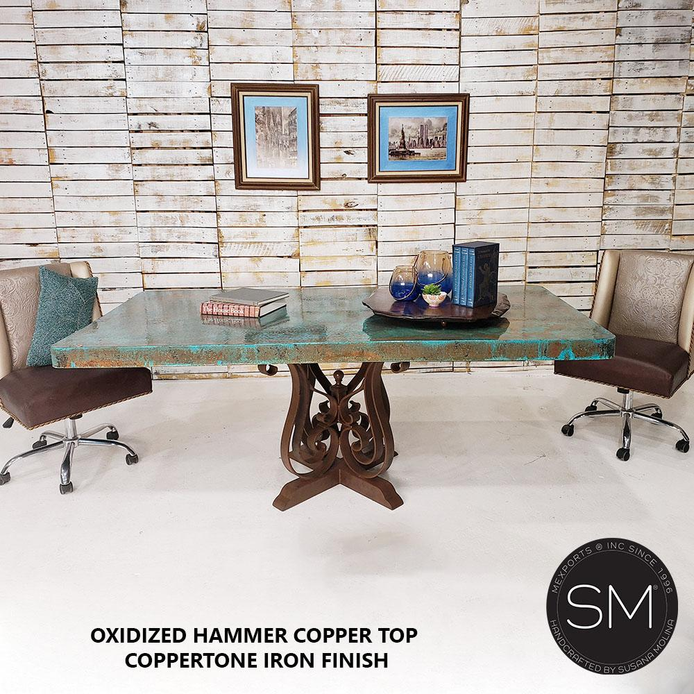 Hammer Copper Top - Luxury Modern Desk-Conference Single Table-Rectangular Dininjg tables-Mexports By Susana Molina-8'-Natural Copper-Dark Rust Brown-Mexports® Inc by Susana Molina