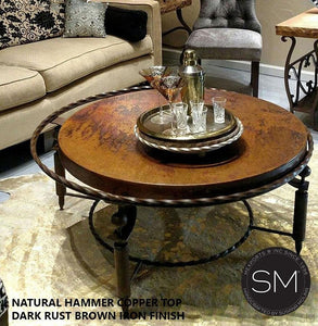 "South Western Coffee Table- Hammered Copper Top, Wrought Iron Base-Mexports By Susana Molina -38""Rd-Dark Rust Brown-Natural Hammer Copper-Mexports® Inc by Susana Molina"