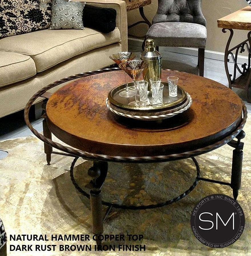 - South Western Coffee Table- Hammered Copper Top, Wrought Iron Base