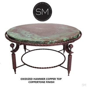 Hammer Copper Top Round Coffee Table Model 1265 AAA - Mexports® Inc by Susana Molina