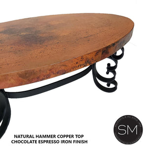 Hammer Top Oval Copper Coffee Table-Mexports By Susana Molina-Mexports® Inc by Susana Molina