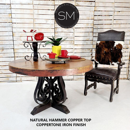 Hammered Copper Round Dining Table & kitchen ideas-Round Dining table-Mexports By Susana Molina-48