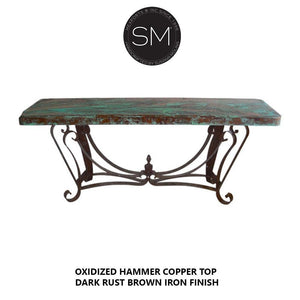 "Luxury ranch Hammered Copper top -Entryway Console Table-Console tables- Entryway tables-Mexports By Susana Molina-59"" x 19""-Natural Copper-Dark Rust Brown-Mexports® Inc by Susana Molina"
