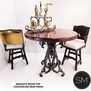 Handmade Reclaimed Mesquite Wood Bar Table Vintage Handforged Iron - Mexports® Inc by Susana Molina