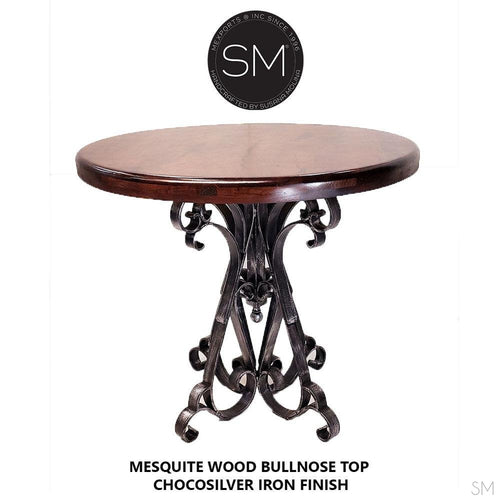 Handmade Reclaimed Mesquite Wood Bar Table Vintage Handforged Wrought Iron - Mexports® Inc by Susana Molina