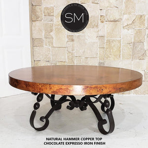High End Coffee Table Snazzy Scroll Round Hammer Copper Top w/ Nailheads - Mexports® Inc by Susana Molina