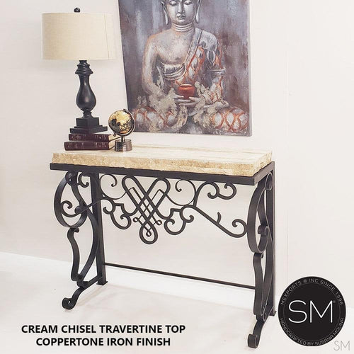 High-End Entry Console Table, made of Mexican Travertine Marble Top-Mexports By Susana Molina -Mexports® Inc by Susana Molina