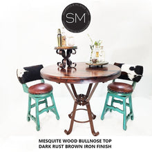 "High End Furniture-Solid Reclaimed Mesquite Wood from Texas- Round Bar Table-kitchen island - bar tables-Mexports By Susana Molina-38""-Bullnose-Dark Rust Brown-Mexports® Inc by Susana Molina"