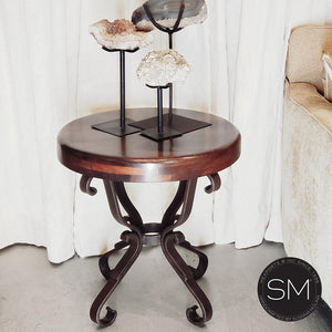 Hi-End Foyer Table Aesthetic Mesquite Top w/ Nail Heads & Sturdy Pedestal-Mexports By Susana Molina-Mexports® Inc by Susana Molina