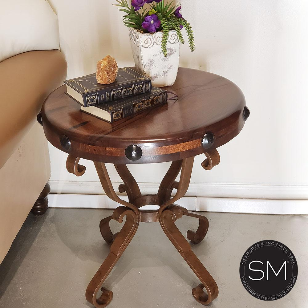 High End solid Mesquite wood side & foyer table with solid wrought iron legs - Mexports® Inc by Susana Molina
