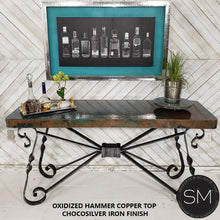 "High End Western Console Table - Entryway Table Hammered Copper top.-Console tables - Entryway tables-Mexports By Susana Molina-59"" X 19""-Natural Copper-Dark Rust Brown-Mexports® Inc by Susana Molina"