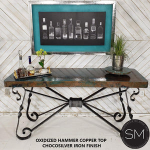 High End Western Console Table - Entryway Table Hammered Copper top. - Mexports® Inc by Susana Molina