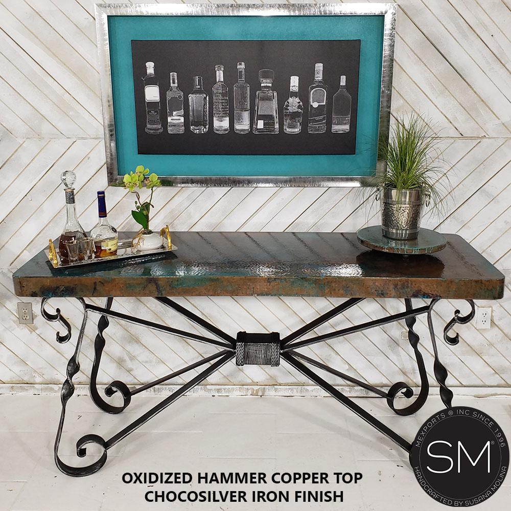 High End Western Console Table - Entryway Table Hammered Copper top.-Console tables - Entryway tables-Mexports By Susana Molina-59