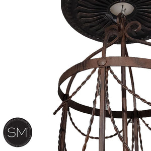 Lighting Fixtures- Iron Chandelier Cage style,indoors Lighting Chandelier 4 lights-Mexports® Inc by Susana Molina -Mexports® Inc by Susana Molina