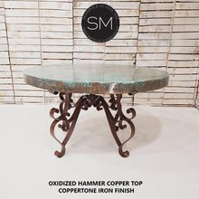 "Kitchen and Dining tables -Hammer Copper Round Dining Table-Round Dining table-Mexports By Susana Molina-48""Rd-Natural Copper-Dark Rust Brown-Mexports® Inc by Susana Molina"