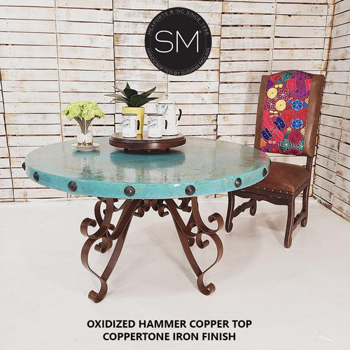 Kitchen and Dining tables -Hammer Copper Round Dining Table-Round Dining table-Mexports By Susana Molina-48