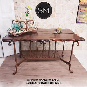 Kitchen Island-Wrought Iron base Mesquite Wood top - Mexports® Inc by Susana Molina