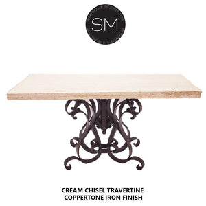 Patio Furniture Large Console with Natural Travertine Chisel Top-Mexports By Susana Molina-Mexports® Inc by Susana Molina