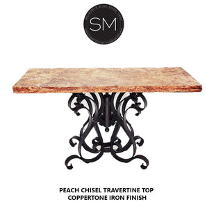 "Patio Furniture Large Console with Natural Travertine Chisel Top-Console tables - Entryway tables-Mexports By Susana Molina-63"" x 22""-Peach Chisel Travertine-Coppertone-Mexports® Inc by Susana Molina"