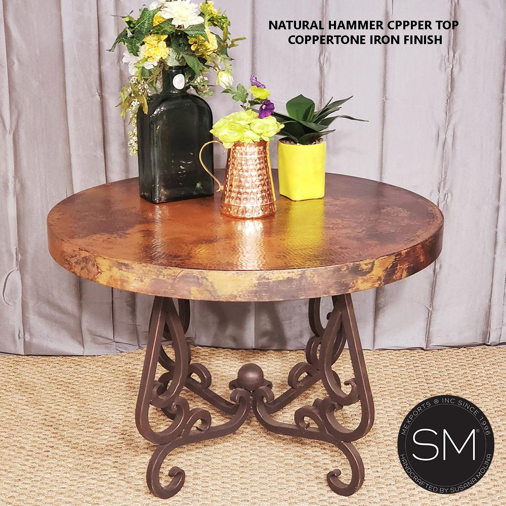 Large Ocassional Table- Hammered Copper W/ Wrought Iron-Mexports By Susana Molina-Mexports® Inc by Susana Molina