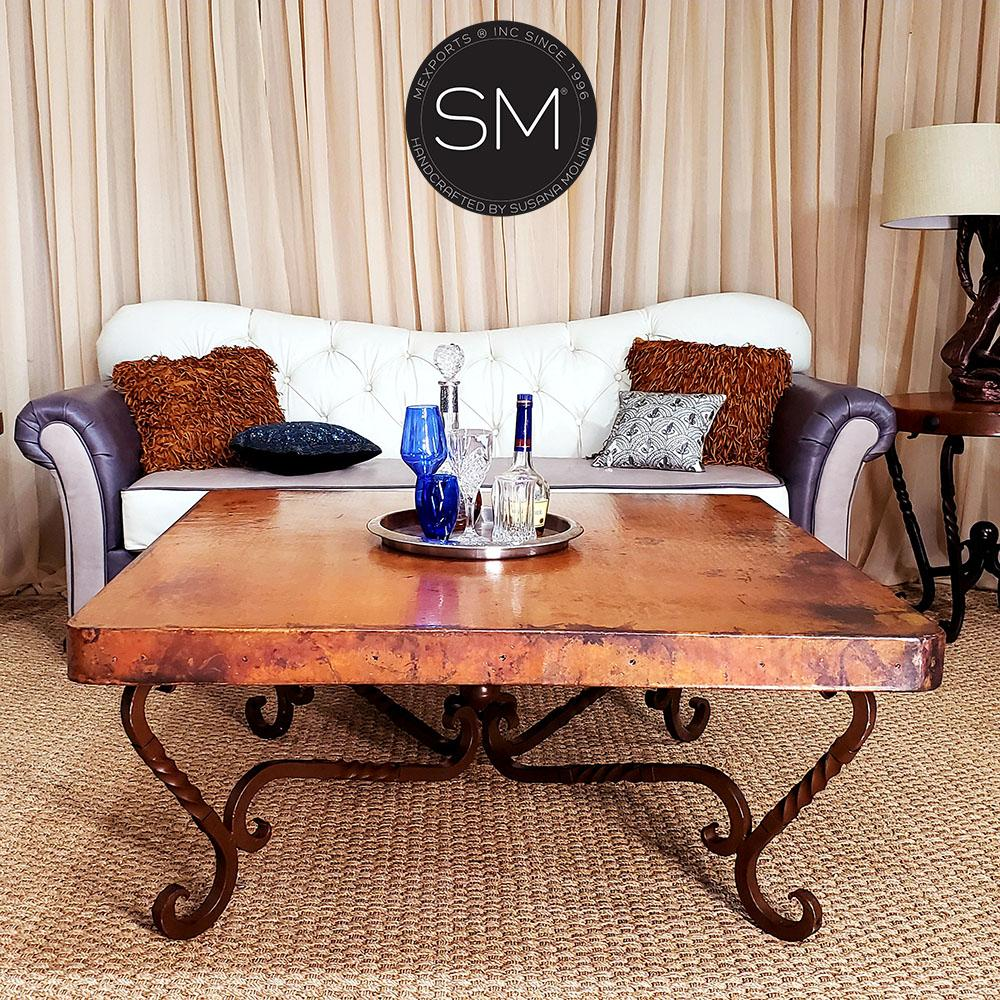 Large square Hammer Copper tables for living room-Mexports By Susana Molina-Mexports® Inc by Susana Molina