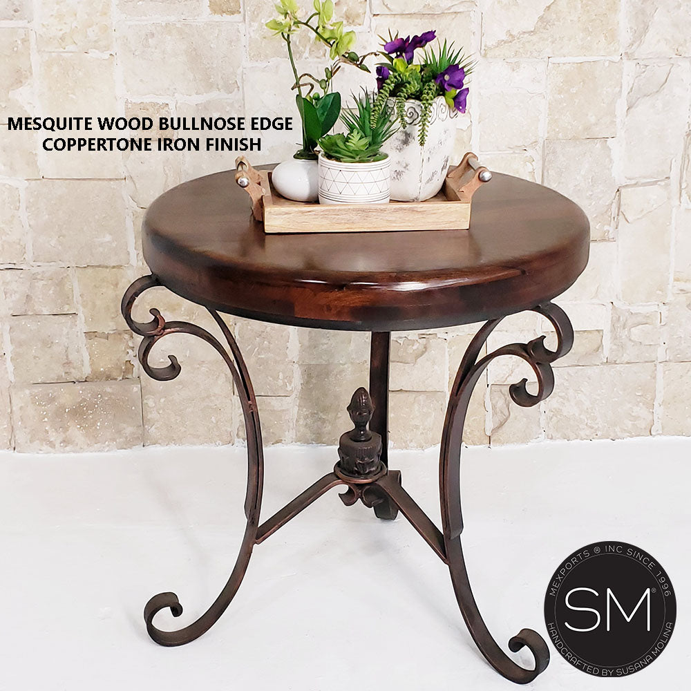 Western Chic Occasional Table | Large | Mesquite Wood, Wrought Iron Base
